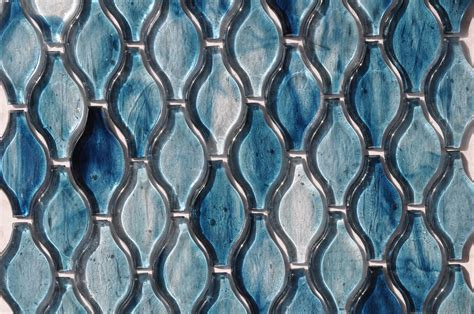 fusion brown pattern glass mosaic fusion glass sky blue teardrop pattern 09g glass tile home