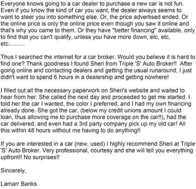 Thank You Letter To Car Salesman