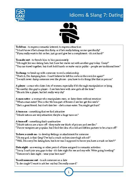 Idioms And Slangs dating slang idioms