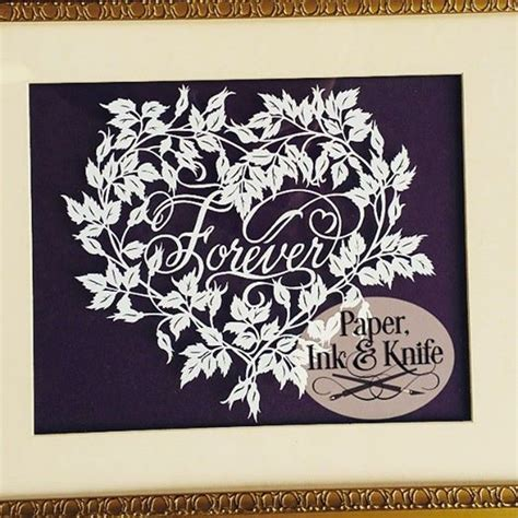 forever papercut template paper ink and knife
