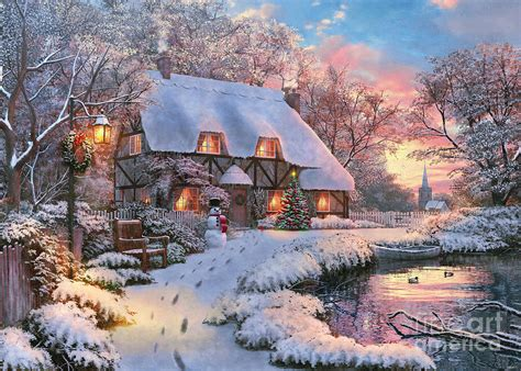 winter cottage winter cottage digital by dominic daviosn