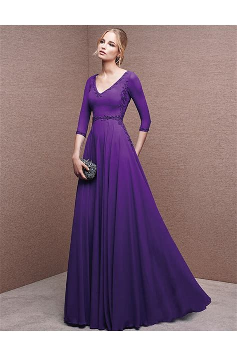 Sleeve A Line Chiffon Dress a line v neck purple chiffon beaded evening dress