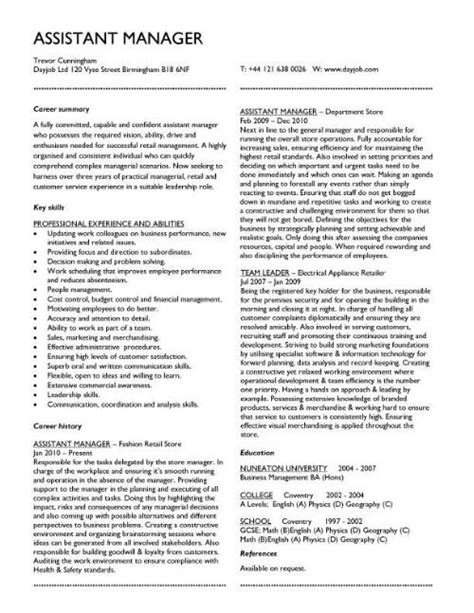 cv manager template cv template exles writing a cv curriculum vitae