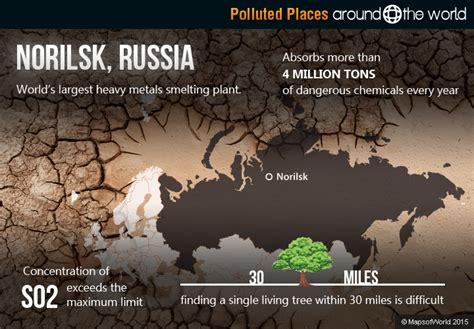 norilsk russia maps pollution around the world around the world