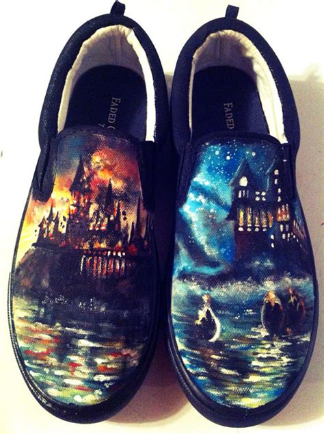 harry potter painted custom shoes