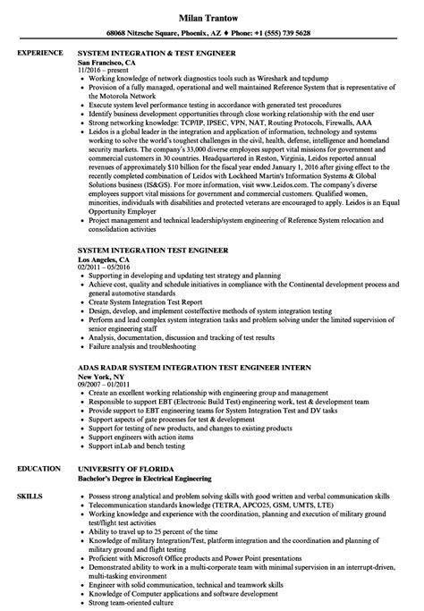 test engineer resume sles sle test engineer resume cover letter software tester software test engineer resume sle