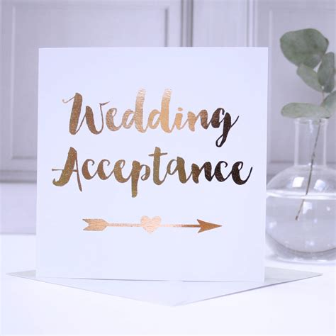 8 Cards To Send For A Wedding by Copper Foil Wedding Acceptance Card By Apple Of My Eye