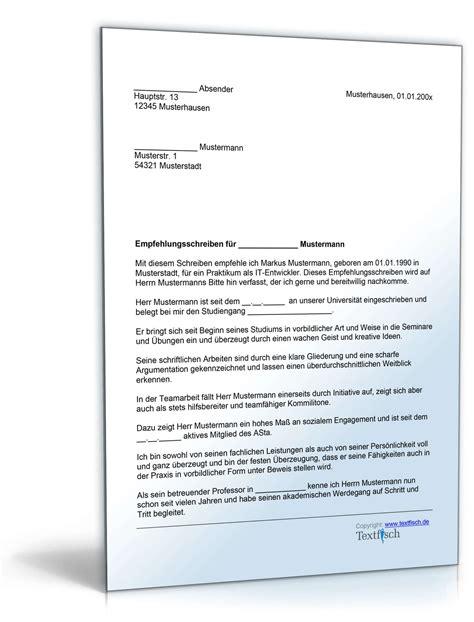 Bewerbungbchreiben Praktikum Hotel Muster empfehlung eines studenten f 252 r ein praktikum muster zum