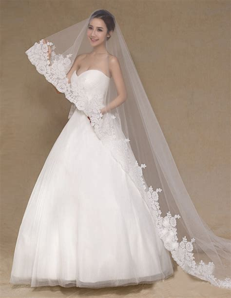 7 Stunning Wedding Veils by Cathedral Wedding Veil With Lace Appliques 3 Meters