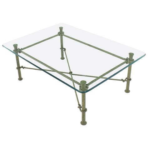 Wrought Iron Coffee Table Base Rectangle Wrought Iron Base Glass Top Coffee Table For Sale At 1stdibs