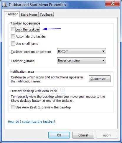 windows 7 top bar how to lock and unlock the windows 7 taskbar