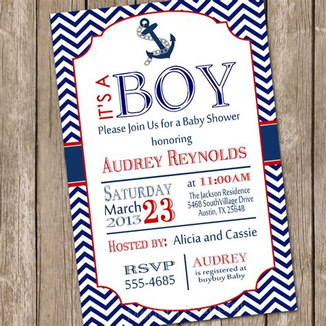 nautical baby shower invitations templates chevron nautical baby shower invitation by modernbeautiful
