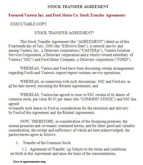 Stock Transfer Agreement Sle Stock Transfer Agreement Template Transfer Agreement Template