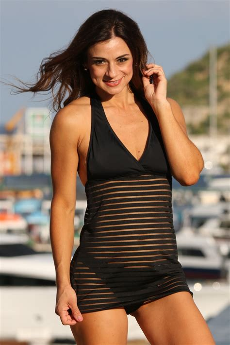 black sheer stripes swim dress swimsuit fiji swimwear