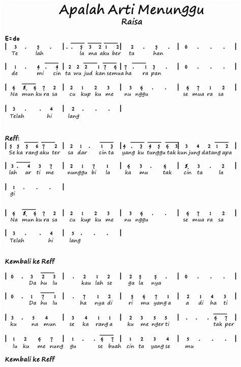not angka lagu makna cinta not angka pinika lagu apalah arti menunggu raisa