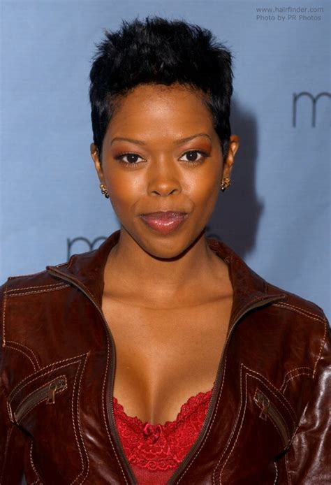 Malinda Williams Hairstyles by Malinda Williams With Hair In A Feminine Pixie Cut