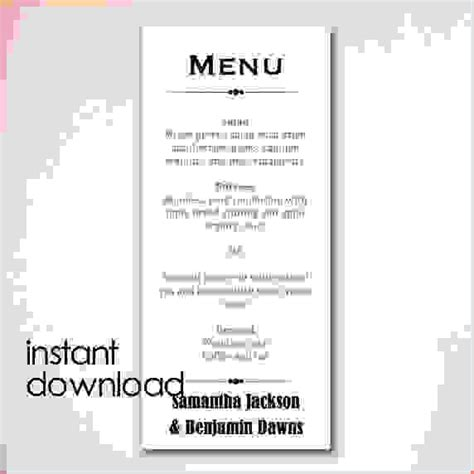 free wedding menu templates for microsoft word 8 microsoft word menu template procedure template sle
