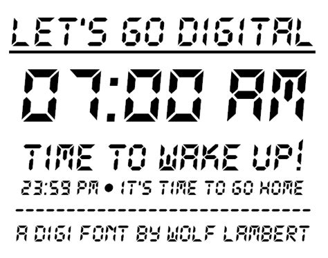 printable digital font フリー素材 目覚まし時計のアラームに表示されるようなデジタル文字フォント