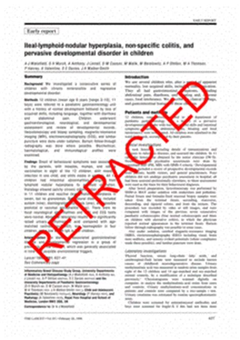 Research Letter Lancet Lancet Retracts Wakefield Paper