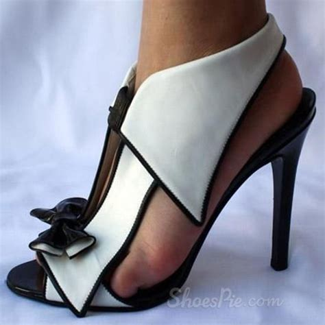 black and white sandals with heel shoespie unique black and white bowtie dress sandals