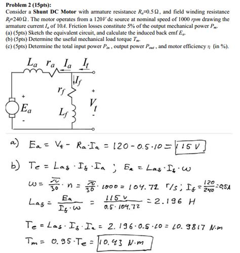 dc motor equations finding the load torque in a shunt dc motor physics