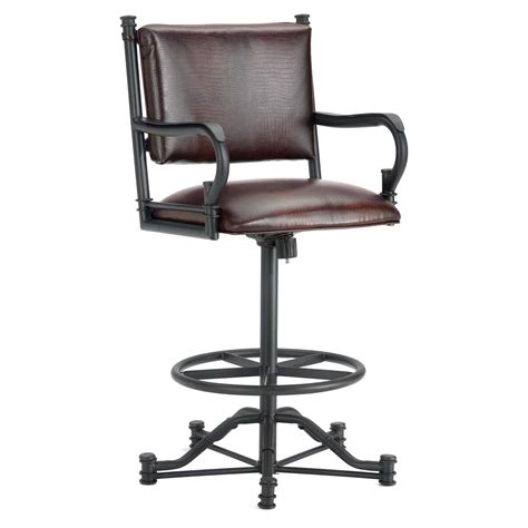 black swivel bar stools with back furniture black iron bar stool with arm and back also