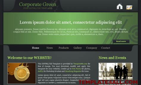 black green business css web template free web templates