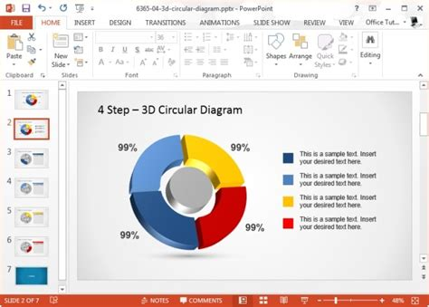 4 step 3d circular diagram template for powerpoint using circular diagrams to model a process cycle in powerpoint