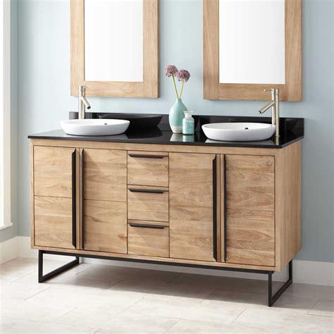 bathroom double sink vanity cabinets 60 quot cael teak double vanity for semi recessed sinks