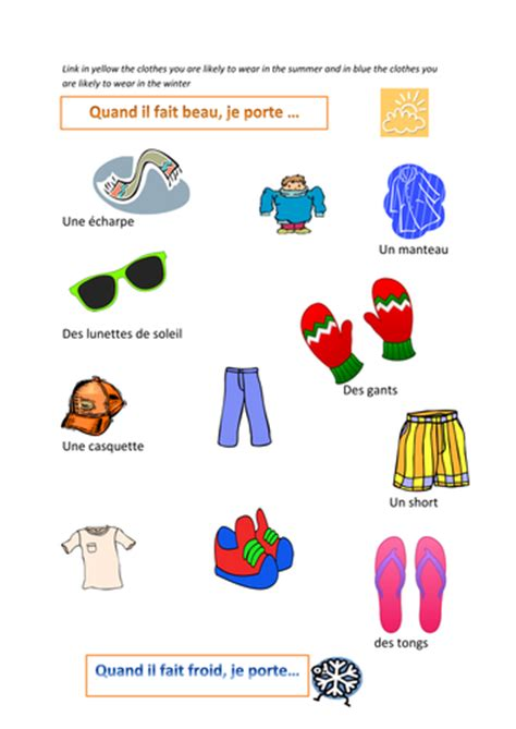 clothes for different seasons worksheet clothes matching with weather by missjennie11 teaching