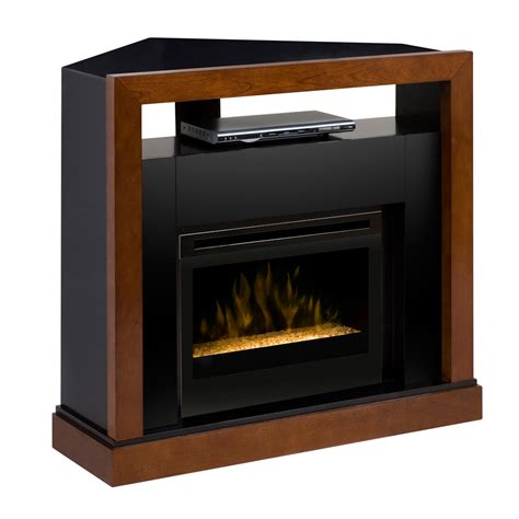 electric fireplace media center w glass embers