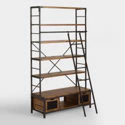 bookshelves with ladders wood and metal bookcase with ladder world market
