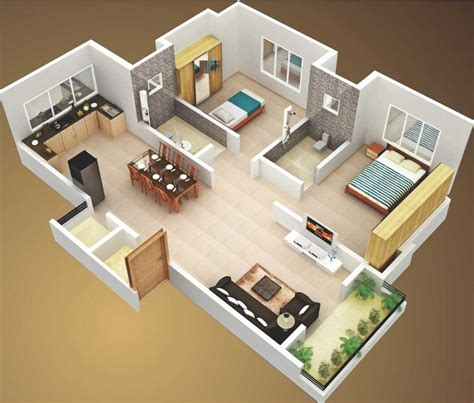 two bedroom house 3d small house plans 800 sq ft 2 bedroom and terrace 2015