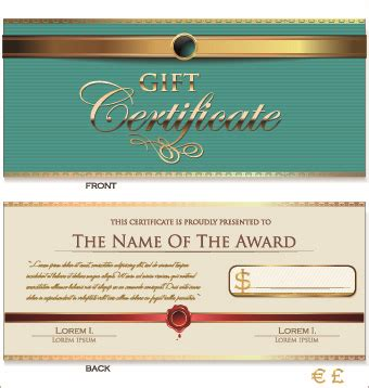 gift card template illustrator certificate template adobe illustrator free vector