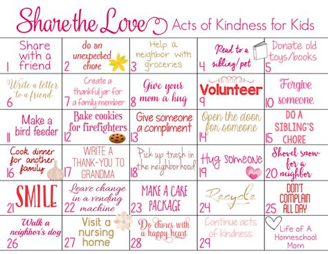 printable kindness calendar share the love 29 days kindness challenge for kids with