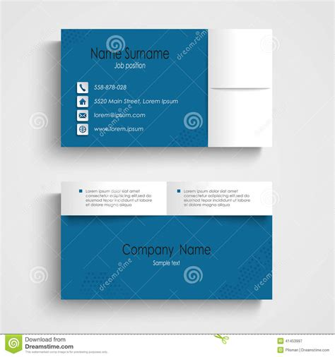 business card template eps modern sle blue business card template stock vector