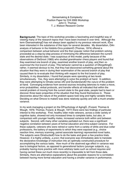 position paper template sensemaking position paper for chi 2005 workshop