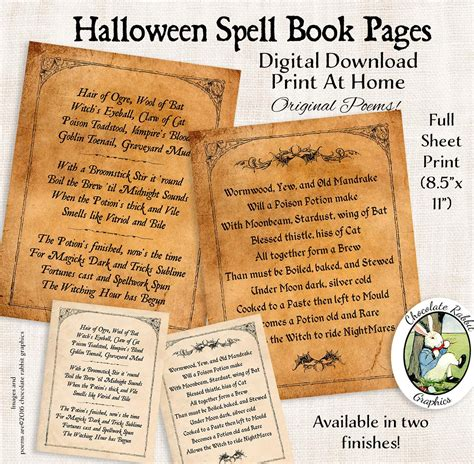 book pages print witch spell book pages digital printable