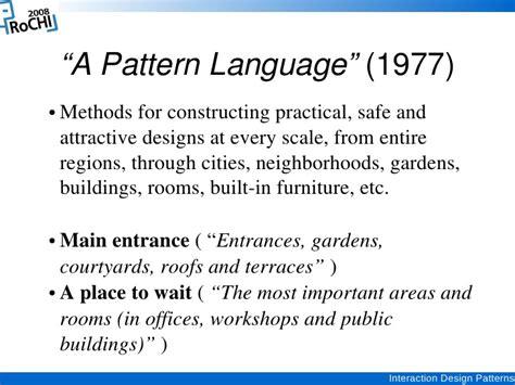pattern language methodology interaction design patterns