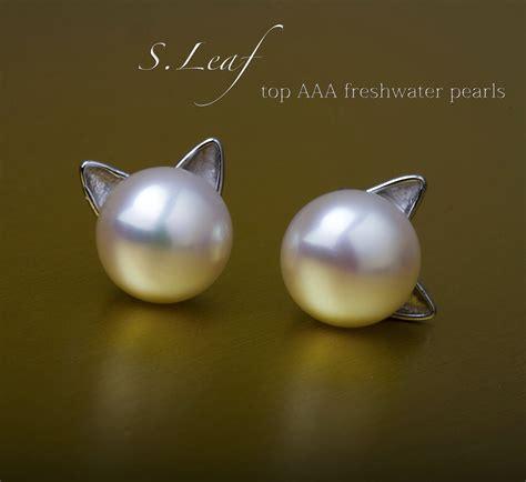 Cat Ear Stud galleon s leaf cat ear stud earrings freshwater cultured