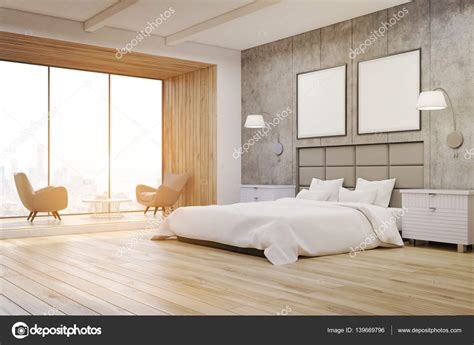 bedroom side view side view of a bedroom interior with concrete walls a