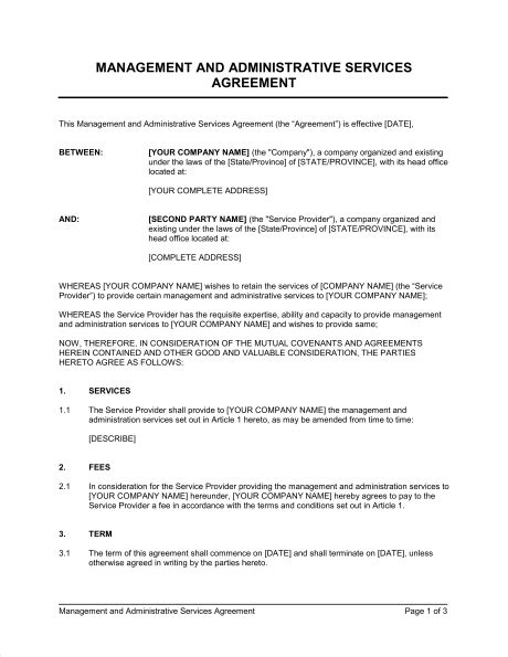 Management And Administrative Services Agreement Template Sle Form Biztree Com Administrative Assistant Contract Template