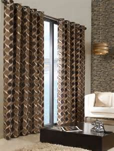 brown beige curtains stylish trendy ringtop eyelet lined circle pattern