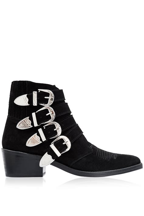 toga pulla suede multi buckle ankle boots black 365ist