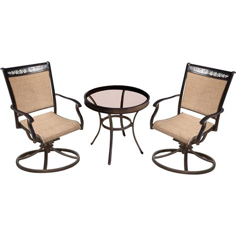 Hanover Fontana 3 Piece Aluminum Outdoor Bistro Set With Table With Swivel Chairs