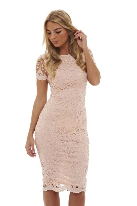 Crochet Pink Dress ax womens crochet lace midi bodycon dress pink