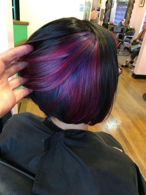 shag haircut brown hair with lavender grey streaks m 225 s de 1000 ideas sobre pelo peekaboo de color p 250 rpura en