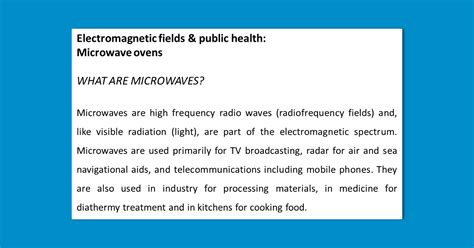 Info Microwave who electromagnetic fields health microwave ovens