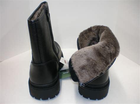 mens faux fur boots nib mens peppergate faux fur lined leather winter boots black
