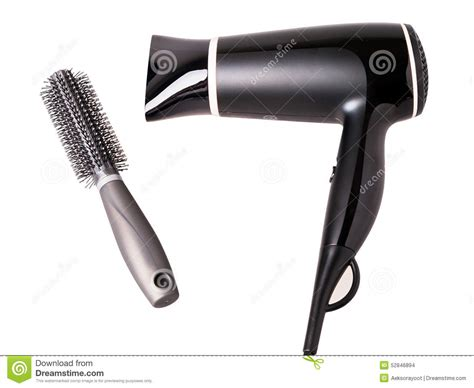 White Hair Dryer hair dryer and hair brush isolated stock photo image of